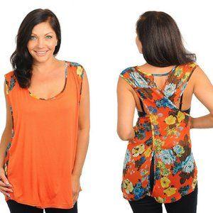 Women's Top Orange Floral Crisscross-Back